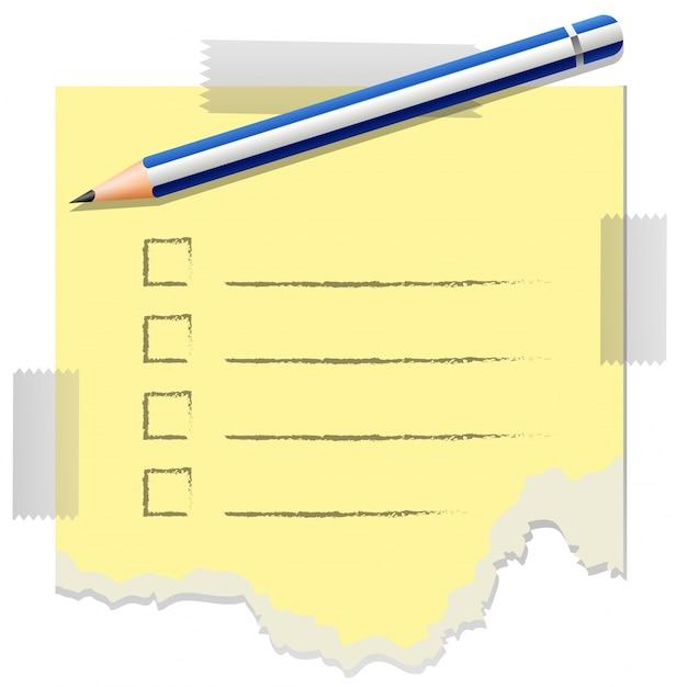 Шаблон контрольного списка с одним карандашом на нем Premium векторы