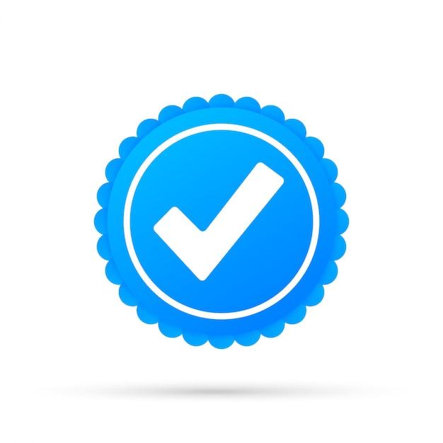 チェックマーク。分離された青の承認された星のステッカー Premiumベクター