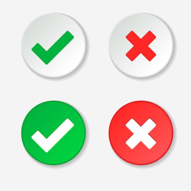 Галочка зеленая галочка и красный крест одобренного и отклоненного символов круга Premium векторы