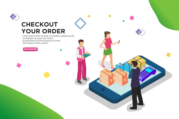 Checkout your order isometric design Premium Vector