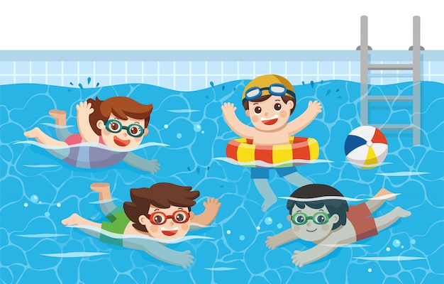 Cheerful and active kids swimming in the swimming pool ...