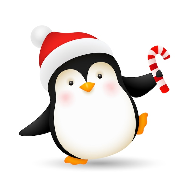Cheerful baby penguin dancing with candy cane Free Vector