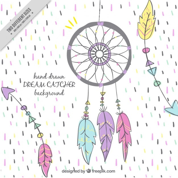 Cheerful background with dream catcher and arrows Free Vector