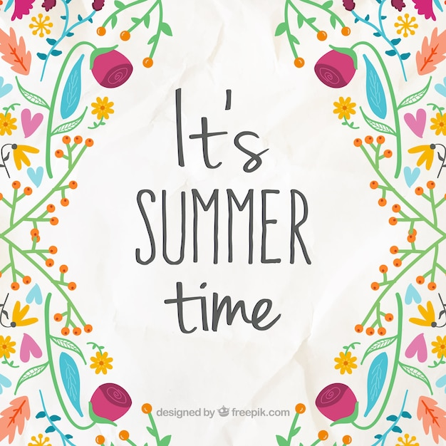 Cheerful background with hand drawn flowers\ with summer phrase