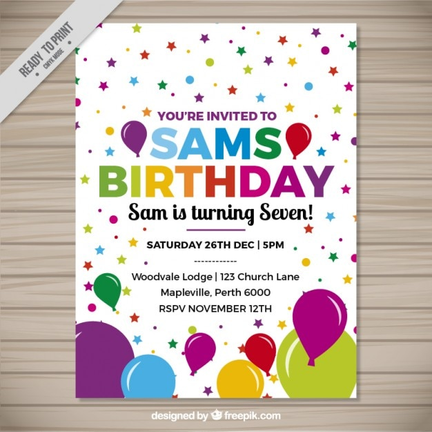 Cheerful birthday invitation with colorful\ balloons