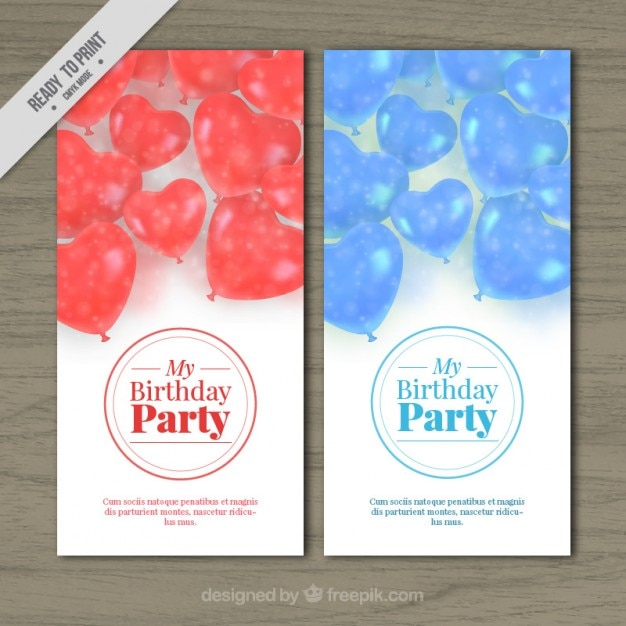 cheerful birthday invitations with heart balloons vector free download