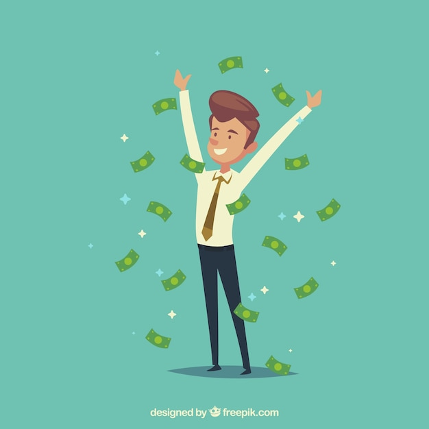 Cheerful businessman with bills Free Vector