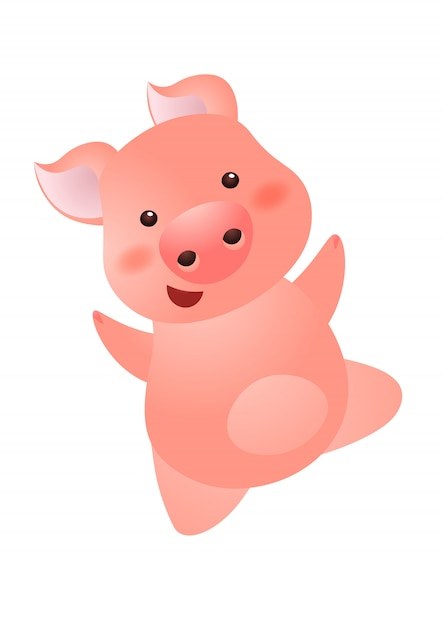 Cheerful carefree pink pig character Premium Vector