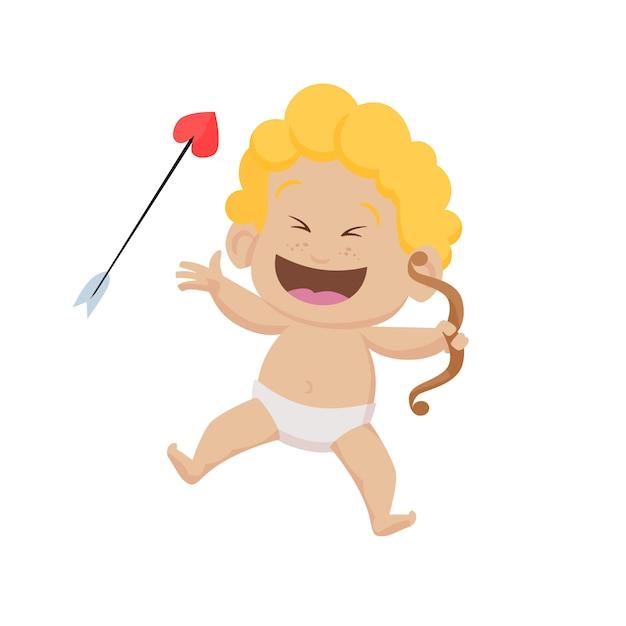 Cheerful cartoon cupid with bow and arrow Free Vector