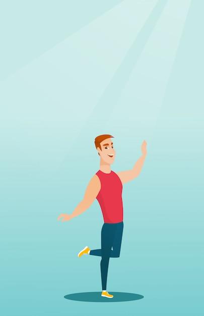 Cheerful caucasian man dancer dancing. Premium Vector