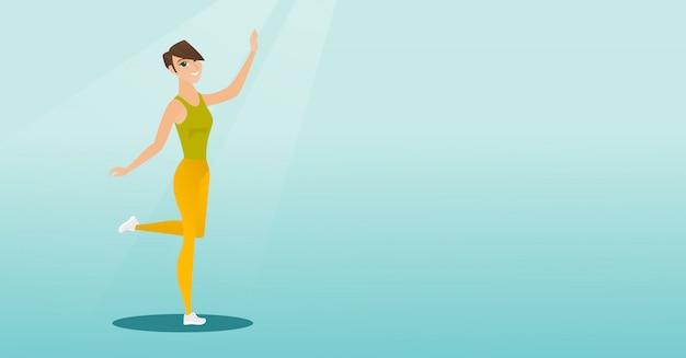 Cheerful caucasian woman dancer dancing. Premium Vector