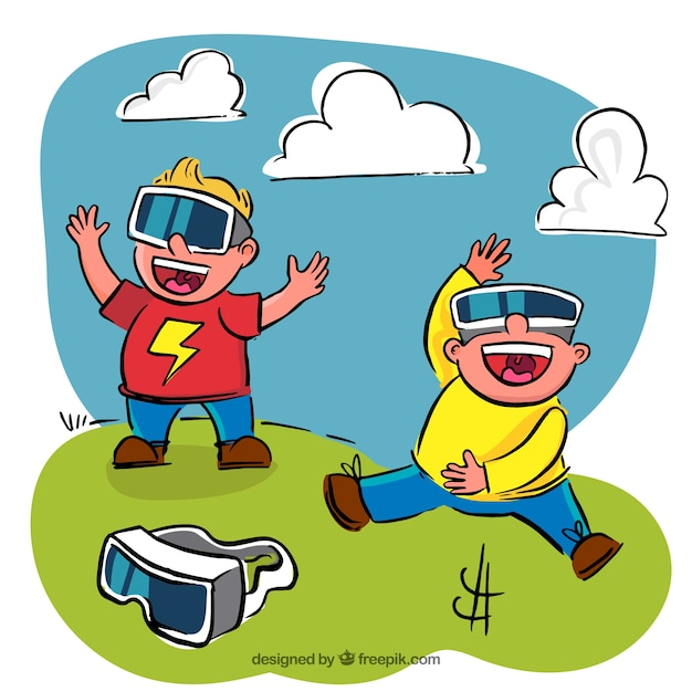 Cheerful children playing with simulation\ glasses