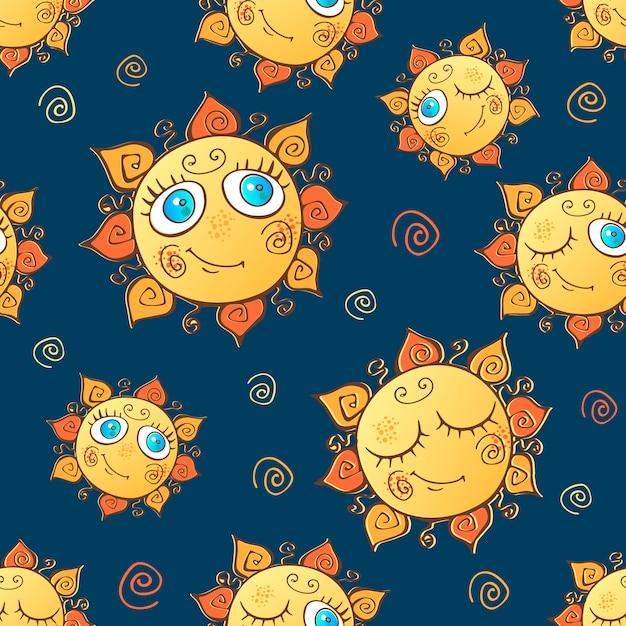 Cheerful children's seamless pattern with suns. Premium Vector