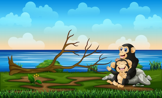 Веселая мама шимпанзе с ребенком на природе Premium векторы