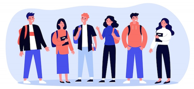 Cheerful college students with books and backpacks Premium Vector