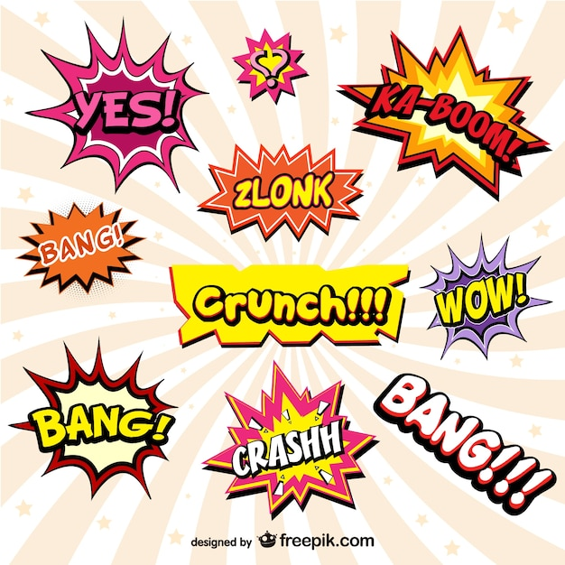 Cheerful comic book onomatopeyas Free Vector