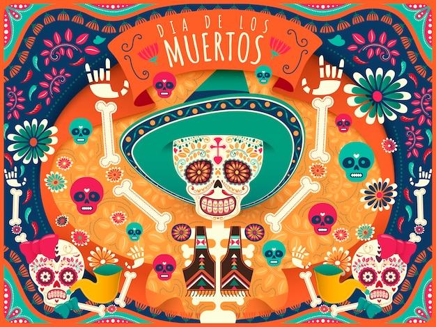 Cheerful day of the dead poster, colorful skeleton and skulls dancing happily in orange and turquoise tone in flat style, holiday's name in spanish Premium Vector