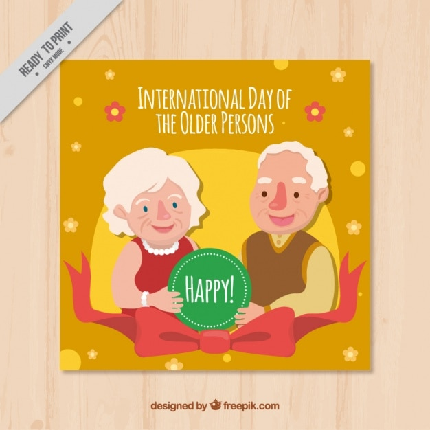 Cheerful elderly persons card