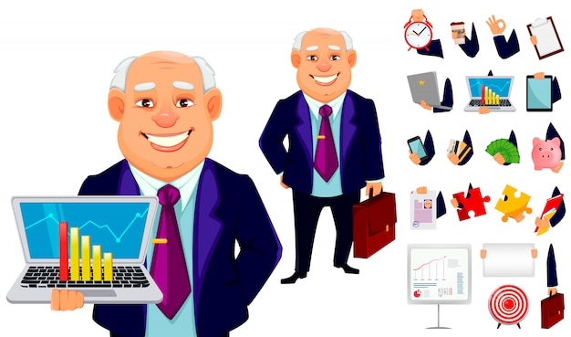Cheerful fat business man, set Premium Vector
