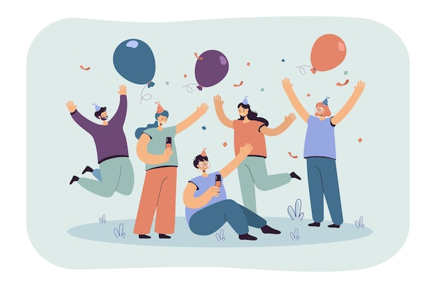 Веселые друзья празднуют на вечеринке вместе изолировали плоскую иллюстрацию. иллюстрации шаржа Бесплатные векторы