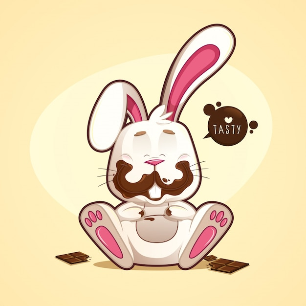 Cheerful and funny dirty chocolate rabbit with chocolates Premium Vector