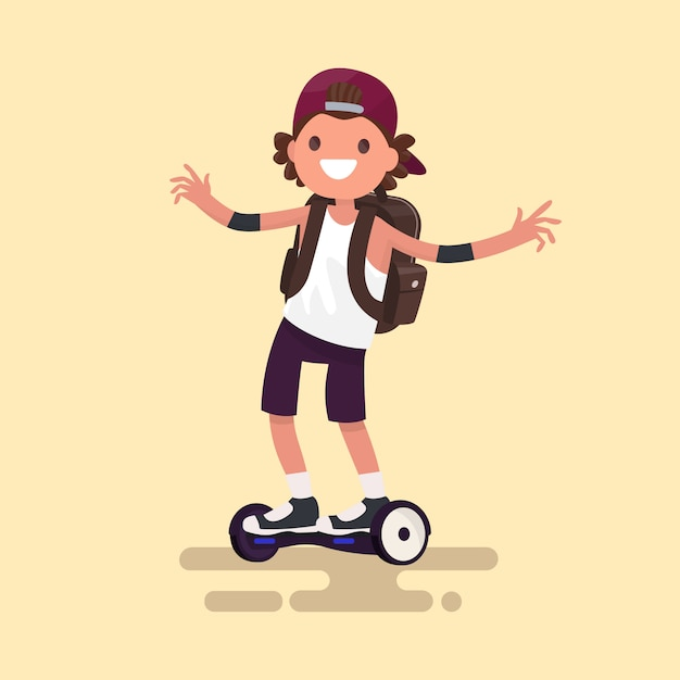 Cheerful guy rides on gyroscooter illustration Premium Vector