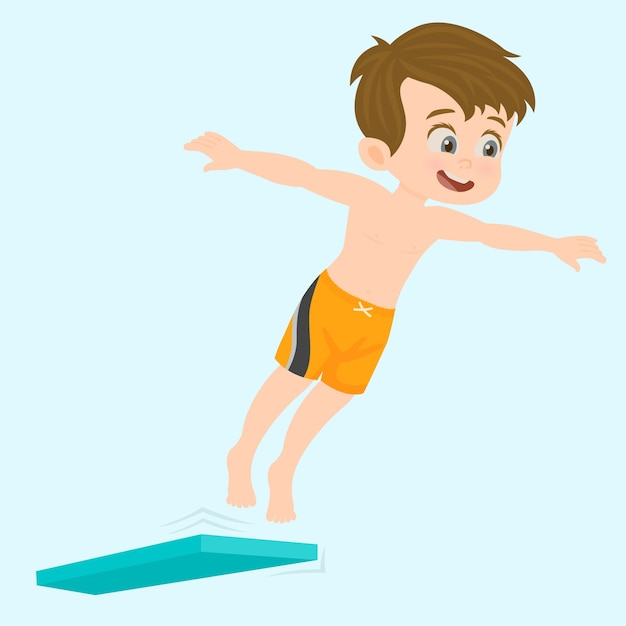 Cheerful happy boy jumping into the pool Premium Vector