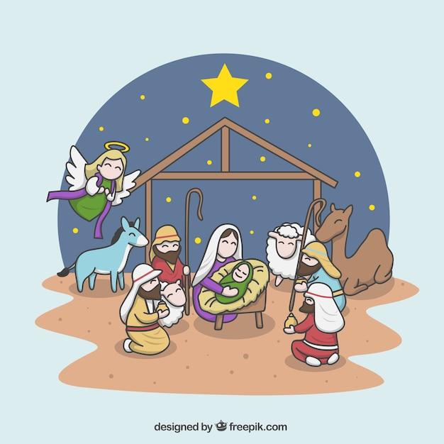 Cheerful illustration of the nativity scene Free Vector