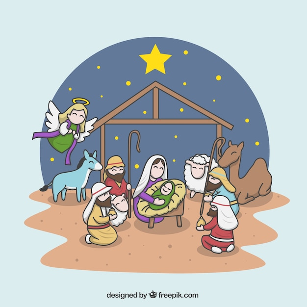 Cheerful illustration of the nativity\ scene