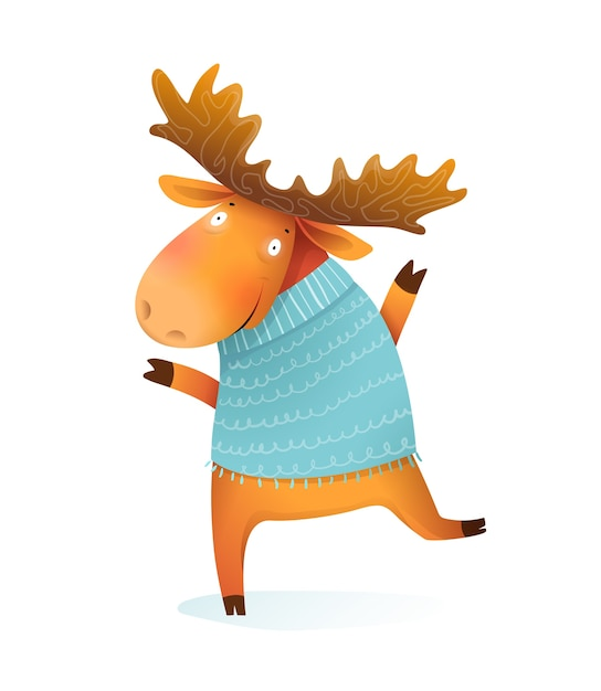 Cheerful kids moose or elk wearing knitted sweater, wintertime and christmas kids greeting card character. kids isolated animal illustration, cartoon in watercolor style. Premium Vector