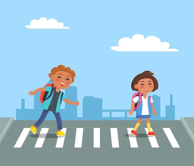 Cheerful kids with red rucksacks crossing road Premium Vector