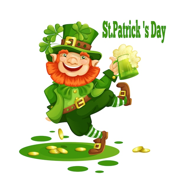Cheerful leprechaun in a green hat with a mug of beer. Premium Vector
