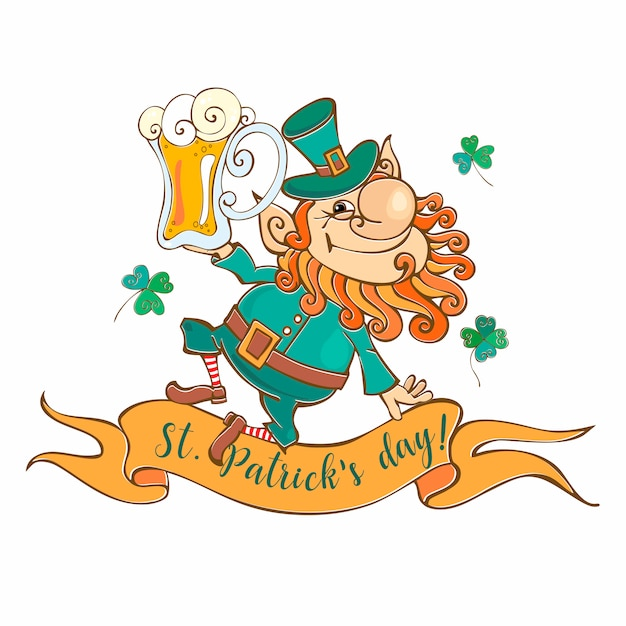 Cheerful leprechaun with beer for st. patrick's day. Premium Vector