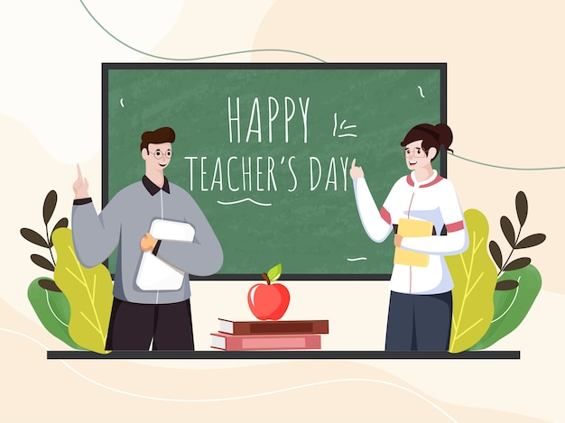 Cheerful man and woman teachers holding book in classroom view for happy teacher's day celebration. Premium Vector