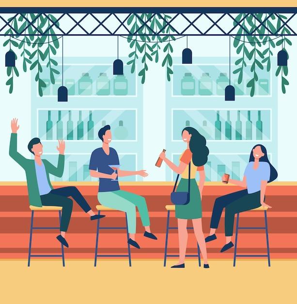 Веселые мужчины и женщины, сидя в пабе плоской иллюстрации. Бесплатные векторы