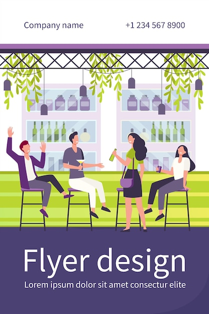 Cheerful men and women sitting in pub flat flyer template Free Vector