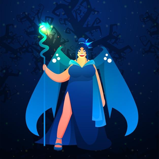푸른 숲 배경에 서있는 포즈에 쾌활 한 현대 여성 마녀 프리미엄 벡터