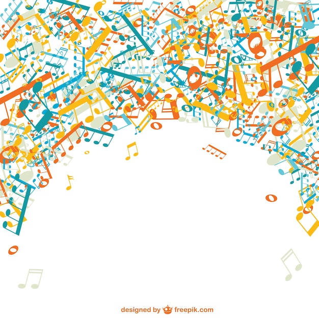 Cheerful Music Notes Background Vector Free Download