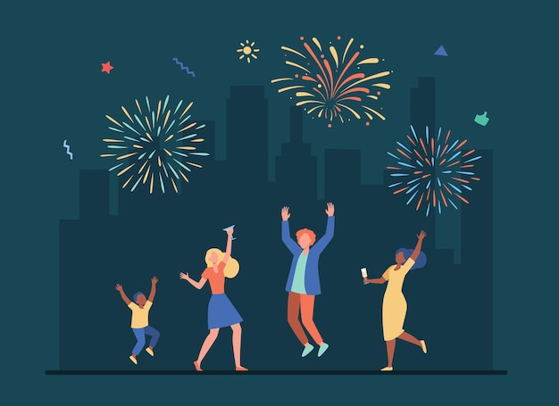 Cheerful people celebrating with colorful salute. cartoon illustration Free Vector