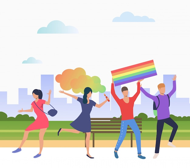 Cheerful people in pride parade Free Vector