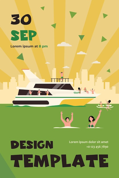 Cheerful people sailing on luxury boat isolated flat flyer template Free Vector