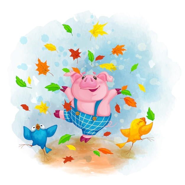 Cheerful pig and birds dancing and throwing autumn leaves. Premium Vector