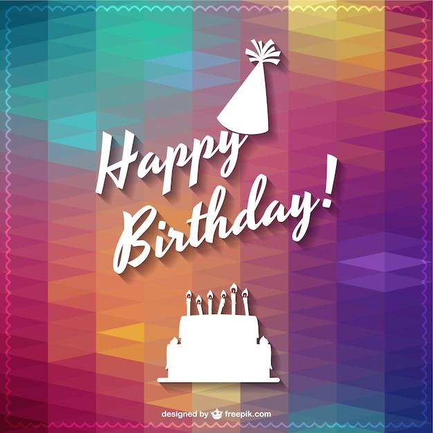 Cheerful polygonal happy birthday card Free Vector