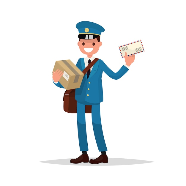 Cheerful postman with parcels and letter. Premium Vector