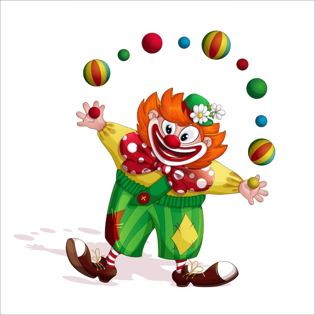 Cheerful redhead clown juggler. Premium Vector