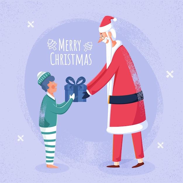 메리 크리스마스 축하를위한 밝은 보라색 소음 효과 배경에 소년에게 선물 상자를주는 명랑 산타 클로스. 프리미엄 벡터