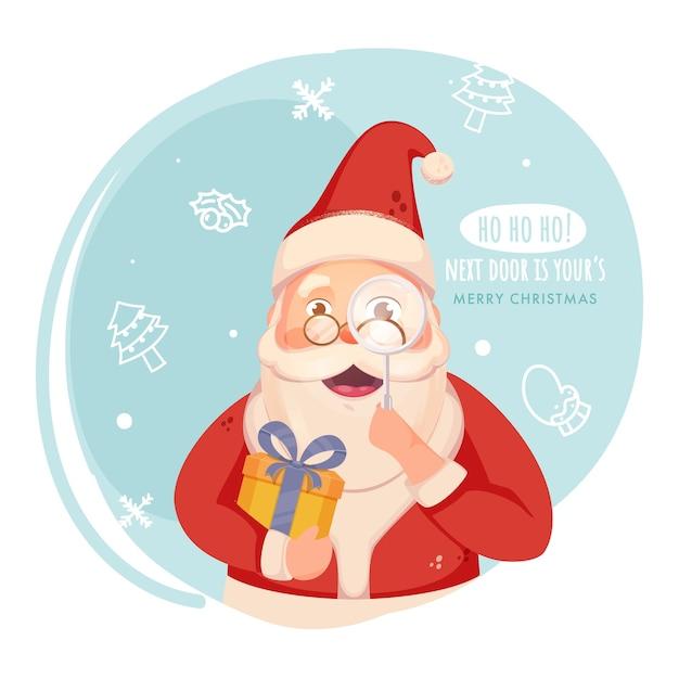 Веселый санта-клаус, держащий подарочную коробку с увеличительным стеклом на синем и белом фоне для веселого рождества. Premium векторы