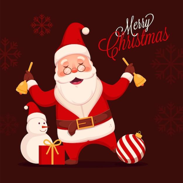 Веселый санта-клаус, держащий колокольчики со снеговиком, безделушкой и подарочной коробкой на бордо-коричневом фоне снежинки для празднования рождества. Premium векторы