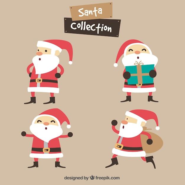 Cheerful santa claus set