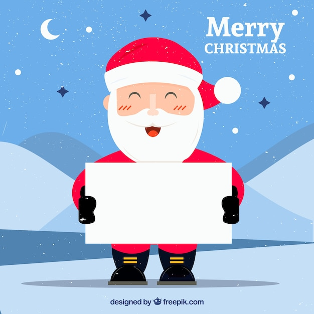 Cheerful santa claus with blank sign